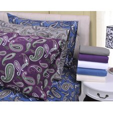 Paisley and Solid Flannel Cotton Pillowcase (Set of 2)