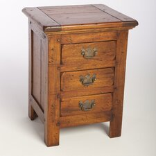 East Indies 3 Drawer Bedside Table