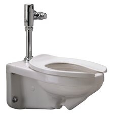 Wall Mounted 1.28 GPF Elongated 1 Piece Toilet with Exposed Battery Flush Valve