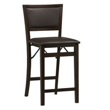 "Triena 24"" Folding Counter Stool with Padded Back in Espresso"