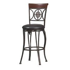 "24"" Fleur De Lis Counter Stool in Dark Antique Gold Frame and Brown Wood"