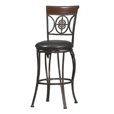 "30"" Fleur De Lis Bar Stool in Dark Antique Gold Frame and Brown Wood"