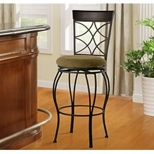 "24"" Curves Counter Bar Stool in Metallic Brown & Brown Wood"