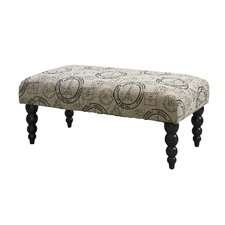 Claire Butterfly Print Upholstered Bench