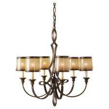 Justine 6 Light Chandelier with Oak Shade