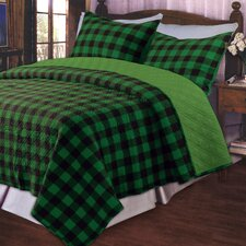 <strong>Greenland Home Fashions</strong> Western Plaid Green Quilt Set