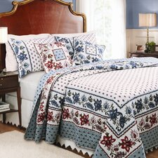 <strong>Greenland Home Fashions</strong> Madeline 3 Piece Quilt Set