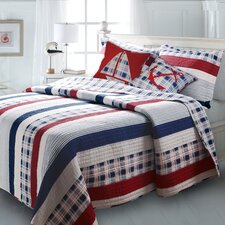 <strong>Greenland Home Fashions</strong> Nautical Stripe Bonus Quilt Set