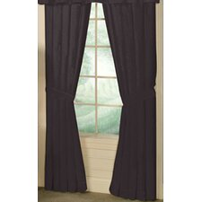 Black Solid Cotton Tab Top Curtain Panel (Set of 2)