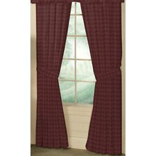 Dark Maroon Checks Cotton Tab Top Curtain Curtain Panel (Set of 2)
