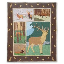 Brown Elk Cotton Throw Quilt