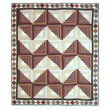 Peasant Log Cabin Cotton Throw Quilt