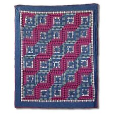 Log Cabin Cotton Throw Quilt