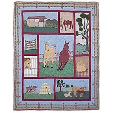 Horse Cotton Throw Quilt
