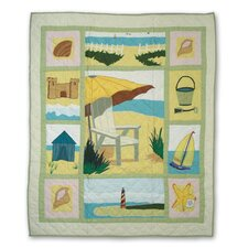 Ocean View Cotton Throw Quilt