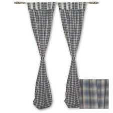 Blue Black Plaid Tab Top Curtain Panel (Set of 2)