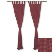 Red - Rustic Plaid and Black Lines Cotton Curtain Panel (Set of 2)
