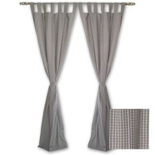 Green Forest - Checks with Ecru Tab Top Curtain Panel (Set of 2)
