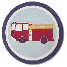 Fire Truck Blue Kids Rug