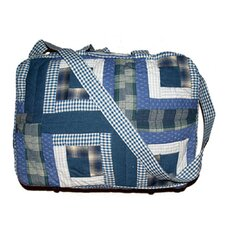 Blue Log Cabin Shoulder Bag