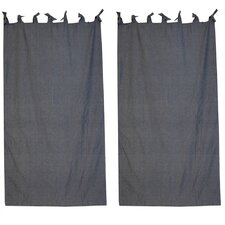 Blue Light Denim Cotton Tab Top Bed Curtain Single Panel