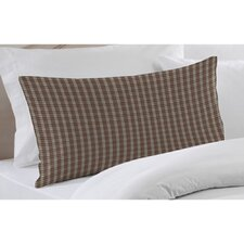 Brown and White Plaid Fabric Pillow Sham