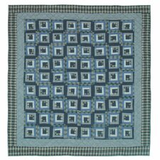 Blue Log Cabin Luxury Quilt