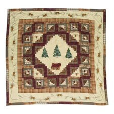 Forest Log Cabin Cotton Shower Curtain