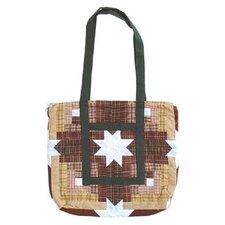 Snowflake Log Cabin Tote Bag