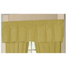 "Yellow Pale and White Checks 54"" Curtain Valance"