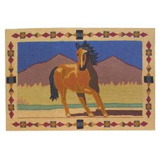 Wild Horses Brown Kids Rug
