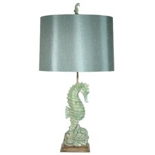 """Nautical of Seahorse and Shells 32"""" H Table Lamp with Drum Shade"""