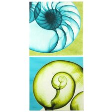 Coral Toned Hand Embellished Canvases Wall Art (Set of 2)