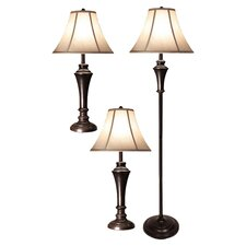 Table Lamp and Club Floor Lamp Set with Bell Shade