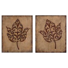 Decorative Leaves by Grace Feyock 2 Piece Graphic Art Set