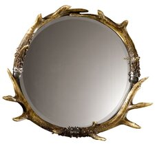 Rustic Fau Stag Horn Wall Mirror