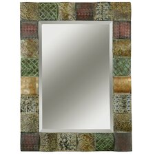 <strong>Uttermost</strong> Ganya Rectangular Beveled Mirror with Convex Wooden Squares