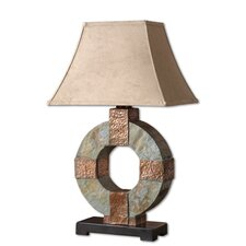 "Slate Circular 29"" H Table Lamp with Rectangular Shade"