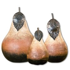 Terra Cotta Pears Statues in Dark Brown - Set of 3