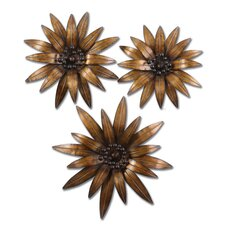 Golden Gazanias Wall Art in Gold (Set of 3)