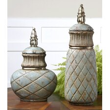 Deniz 2 Piece Sea Foam Ceramic Container Set