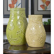 Trailing 2 Piece Leaves Ceramic Vase Set