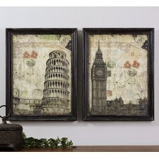 2 Piece European Postmarks Wall Art Set