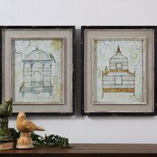 Bird Cages 2 Piece Framed Painting Print Set