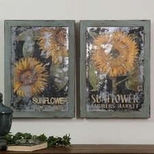 2 Piece Sunflower Farmers Market Wall Art Set