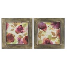 2 Piece Watercolor Florals Framed Wall Art Set
