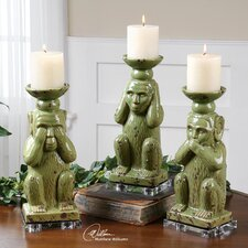 3 Piece Toma Ceramic Candlestick Set