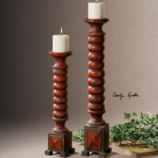 2 Piece Clancy Wood Candlestick Set