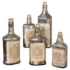 5 Piece Recycled Bottle Statue Set