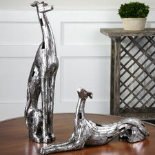 2 Piece Resting Greyhound Figurine Set